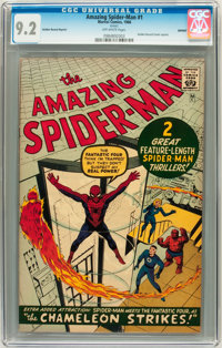The Amazing Spider-Man #1 Golden Record Reprint (w/o record) (Marvel, 1966) CGC NM- 9.2 Off-white pages