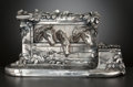 Silver Holloware, Continental:Holloware, A CONTINENTAL SILVER PLATED FIGURAL INKWELL . Maker unidentified,circa 1880. Marks: JB, 78. 5-1/4 x 10-1/4 x 4-1/8 inch...