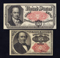 Fractional Currency:Fifth Issue, Fr. 1309 25¢ Fifth Issue VF-XF. Fr. 1381 50¢ Fifth Issue AboutNew.. ... (Total: 2 notes)