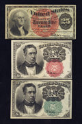 Fractional Currency:Fifth Issue, 10¢ and 25¢ Fractionals.. ... (Total: 3 notes)