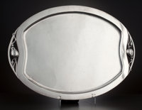 A MEXICAN SILVER OVAL FOOTED TRAY Tango Aceves, Mexico, circa 1950 Marks: Aceves, STERLING 925, MEXICO<