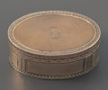 Silver Smalls:Snuff Boxes, A FRENCH GILT METAL OVAL SNUFF BOX . Cartier, Paris, France, circa1900. Marks: Cartier, 341975. 1-1/8 x 3-1/8 x 2-1/4 i...