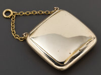 AN ENGLISH GOLD PILL BOX WITH CHAIN William Neale, Chester, England, circa 1908-1909 Marks: (effaced), (Cheste