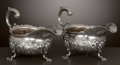 Silver Holloware, British:Holloware, A PAIR OF GEORGE II SILVER SAUCE BOATS . Charles Woodward, London,England, 1748-1749. Marks: (lion passant), (leopard's hea...(Total: 2 Items Items)