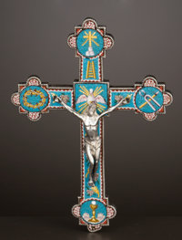 AN ITALIAN SILVER AND GLASS MICRO MOSAIC CROSS Maker unknown, probably Rome, Italy, circa 1719 Unmarked 4-1