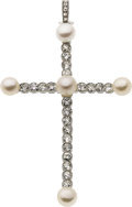 Estate Jewelry:Pendants and Lockets, Cultured Pearl, Diamond, Platinum Pendant. ...
