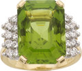 Estate Jewelry:Rings, Peridot, Diamond, Platinum, Gold Ring. ...