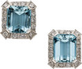Estate Jewelry:Earrings, Aquamarine, Diamond, Platinum Earrings. ...