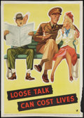 "Movie Posters:War, War Propaganda Poster (National Defense, 1942). World War II Poster(14"" X 20""). ""Loose Talk Can Cost Lives."" War.. ..."