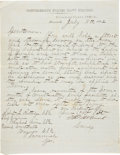 Autographs:Military Figures, CSS Georgia: Thomas William Brent Letter Signed as Commandant of the Confederate States Navy. One page on tan Co...