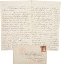 "Autographs:U.S. Presidents, [Abraham Lincoln] Inaugural Coat Autograph Letter Signed. Fourpages written on recto and verso, approximately 5"" x 8"", Char..."