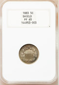 Proof Shield Nickels: , 1883 5C PR65 NGC. NGC Census: (347/259). PCGS Population (391/209).Mintage: 5,419. Numismedia Wsl. Price for problem free ...
