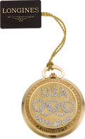 Timepieces:Pocket (post 1900), Longines Gold & Diamond Limited Edition Olympic Pocket Watch,No. 533/1000. ...
