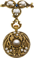 Timepieces:Pendant , Swiss Art Nouveau Gold, Diamond & Pearl Pendant Watch, circa1905. ...