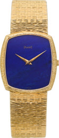 Timepieces:Wristwatch, Piaget Gent's Gold Wristwatch With Lapis Lazuli Dial. ...