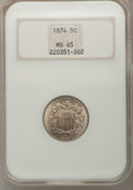 1874 5C MS65 NGC. NGC Census: (21/4). PCGS Population (30/5). Mintage: 3,538,000. Numismedia Wsl. Price for problem free...