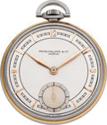 Timepieces:Pocket (post 1900), Patek Philippe & Cie Very Fine Steel & Rose Gold PocketWatch, circa 1930's. ...