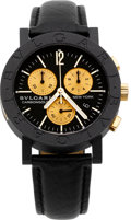 Timepieces:Wristwatch, Bvlgari Limited Edition Carbon Gold Chronograph, New York, 512/999....