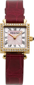 Timepieces:Wristwatch, Audemars Piguet Lady's Diamond, Ruby & Pink Mother-of-PearlClassic Wristwatch, circa 1998. ...