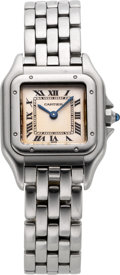 Timepieces:Wristwatch, Cartier Lady's Steel Panthere Wristwatch, circa 1995. ...