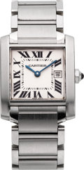 Timepieces:Wristwatch, Cartier Stainless Tank Francaise, circa 1990's. ...
