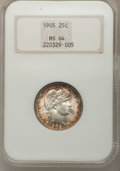 Barber Quarters: , 1905 25C MS64 NGC. NGC Census: (39/16). PCGS Population (32/29).Mintage: 4,968,250. Numismedia Wsl. Price for problem free...