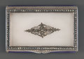 Silver Smalls:Snuff Boxes, A GERMAN SILVER, ROCK CRYSTAL, ENAMEL AND MARCASITE SNUFF BOX .Maker unknown, Germany, circa 1927-1928. Marks: GERMANY,G...