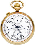 Timepieces:Pocket (post 1900), C. L. Guinand Gold Split Second Chronograph With Register, circa 1915. ...