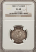 Coins of Hawaii: , 1883 25C Hawaii Quarter MS60 NGC. NGC Census: (6/744). PCGSPopulation (7/1056). Mintage: 500,000. (#10987)...