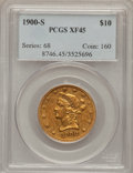 Liberty Eagles: , 1900-S $10 XF45 PCGS. PCGS Population (58/224). NGC Census:(7/163). Mintage: 81,000. Numismedia Wsl. Price for problem fre...