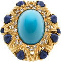 Estate Jewelry:Rings, Turquoise, Lapis Lazuli, Diamond, Gold Ring. ...