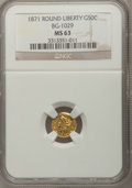 California Fractional Gold: , 1871 50C Liberty Round 50 Cents, BG-1029, High R.4, MS63 NGC. NGCCensus: (1/0). PCGS Population (4/3). (#10858)...