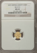 California Fractional Gold: , 1872 50C Liberty Octagonal 50 Cents, BG-913, R.4, MS65 NGC. NGCCensus: (1/2). PCGS Population (14/6). (#10771)...