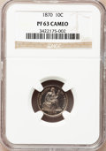 Proof Seated Dimes: , 1870 10C PR63 Cameo NGC. NGC Census: (2/15). PCGS Population(3/20). (#84763)...