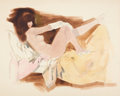 Pin-up and Glamour Art, FRITZ WILLIS (American, 1907-1979). Reclining Nude.Watercolor on board. 22 x 30 in.. Not signed. From the Estateof...