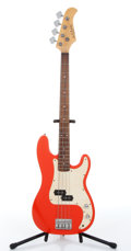 Musical Instruments:Bass Guitars, 1980s Carlo Robelli Red-Orange Electric Bass Guitar....
