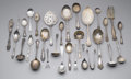 Miscellaneous: , ASSORTMENT OF SILVER FLATWARE. Group of silver includes one pair oftongs, one meat fork, one fish slice, one fish knife, ...