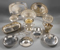 Miscellaneous: , GROUP OF VARIOUS SILVER PLATE PIECES. Group of silver plate comprising holloware includes: one wine cooler, marked to base... (Total: 17 Items)