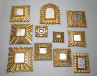 COLLECTION OF SMALL MIRRORS Spain, Twentieth Century  Collection of fifteen assorted small Spanish gilt wood mirrors. Mo...