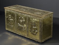 Paintings: , A BRASS REPOUSSE TRUNK. A brass repousse trunk with designs of ships, three to lid and three to front. 41in. x 14-1/4in. x...