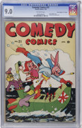 "Golden Age (1938-1955):Funny Animal, Comedy Comics #21 Davis Crippen (""D"" Copy) pedigree (Timely, 1944)CGC VF/NM 9.0 Off-white pages...."
