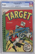 "Golden Age (1938-1955):Adventure, Target Comics V9#10 Davis Crippen (""D"" Copy) pedigree (NoveltyPress, 1948) CGC VF/NM 9.0 Off-white to white pages...."