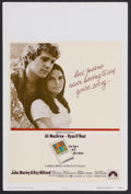 "Movie Posters:Romance, Love Story (Paramount, 1970). Window Card (14"" X 22""). Romance.Starring Ali MacGraw, Ryan O'Neal, John Marley, Ray Milland ..."