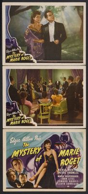 """The Mystery of Marie Roget (Universal, 1942). Title Lobby Card (11"""" X 14"""") and Lobby Cards (2) (11"""" X 14&..."""
