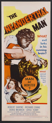 "The Neanderthal Man (United Artists, 1953). Insert (14"" X 36""). Horror. Starring Doris Merrick, Dick Rich, Rob..."