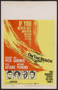 """On the Beach (United Artists, 1959). Window Card (14"""" X 22""""). Drama. Starring Gregory Peck, Ava Gardner, Fred..."""