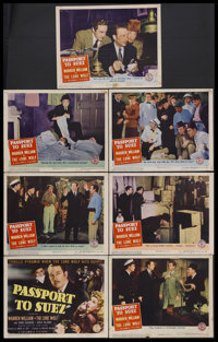 """Passport to Suez (Columbia, 1943). Title Lobby Card (11"""" X 14"""") and Lobby Cards (6) (11"""" X 14""""). Cri..."""