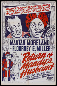 "The Return of Mandy's Husband (Toddy Pictures, 1948). One Sheet (27"" X 41""). Comedy. Starring Mantan Moreland..."