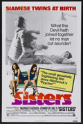 "Movie Posters:Horror, Sisters (AIP, 1973). One Sheet (27"" X 41""). Horror. Starring Margot Kidder, Jennifer Salt, Charles Durning and William Finle..."