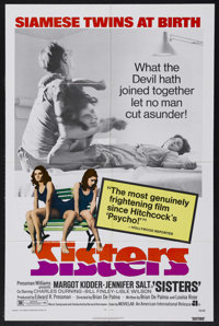 "Sisters (AIP, 1973). One Sheet (27"" X 41""). Horror. Starring Margot Kidder, Jennifer Salt, Charles Durning and..."